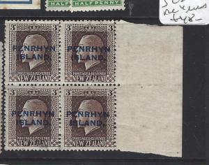 PENRHYN ISLANDS  (P0310BB)   ON NZ  3   SG 25  BL OF 4  MNH