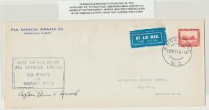 NEW ZEALAND 1937 TRANS-OCEANIC RECORD FLIGHT COVER, SIGNED CAPT.EDWIN MUSICK !!!