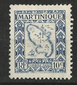 Martinique # J37  Postage Due - Island Map   (1) VF Unused