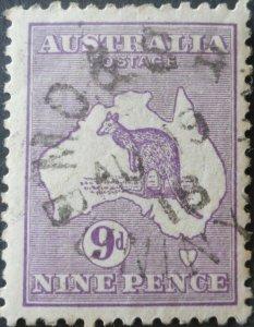 Australia 1916 Nine Pence Kangaroo with M O S B BUNINYONG postmark