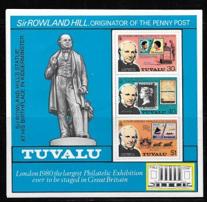 TUVALU, 124A,  MNH,  S.S OF 3, SIR ROWLAND HILL