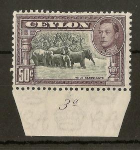 Ceylon 1942 50c Plate 3a Mint