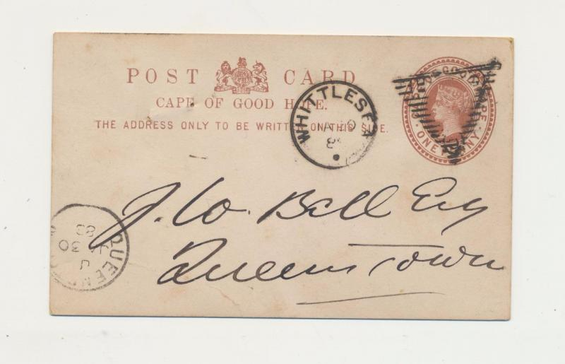 CAPE OF GOOD HOPE 1888 WHITTLES CDS +TRIANGLE ON 1d CARD TO QUEENS TOWN