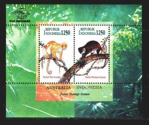 Indonesia. 1996. Bl 108. Monkeys, fauna. MNH.