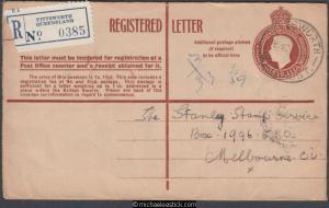 Australia 1953 (Dec Registered Embossed KGVI Cover Pittsworth Qld to Melbourne
