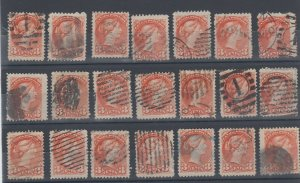 #37 Small Queen LOT x 21 unchecked for perforations, Canada used, corks, fancy +