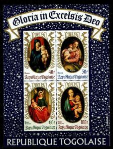 Togo #C170a YTBF58 MNH S/S CV$9 Christmas 1971 - Madonnas (Dürer/Raphael/Ver...