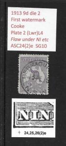 1913 9d roo 1st wmk variety: under NI etc plate 2 L4 ASC 24(2)e