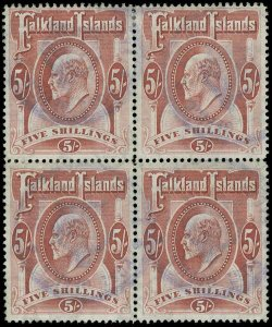 Falkland Islands Scott 29 Gibbons 50 Block of Stamps