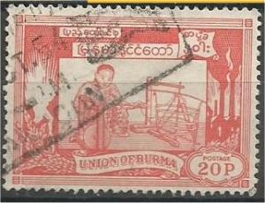 BURMA, 1954, used 20p, Rice Scott 145