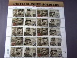 U.S.# 3393-3396-MINT/NH-- PANE OF 20--DISTINGUISHED SOLDIERS---2000
