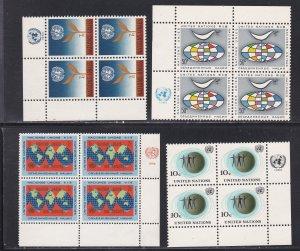 United Nations -New York #  125-128, Inscription Blocks of Four, NH, 1/3 Cat.