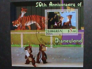 ​LIBERIA STAMP-2005 -50TH ANNIVERSARY OF DISNEYLAND -CTO S/S SHEET #3