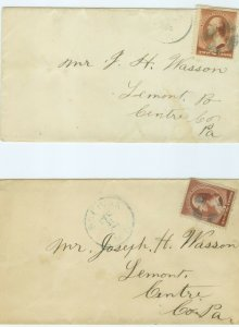 1c Gems US 2 Covers to Lemont, PA c1800s