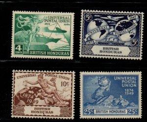 British Honduras Sc 137-140 1949 UPU Anniversary stamp set mint