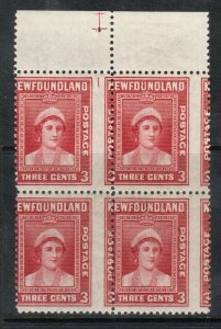 Newfoundland #255 Mint Misperf Variety Block With Plate Marking In Top Margin
