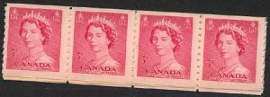 Canada - 1953 3c Karsh QE Coil Strip of 20 mint #332