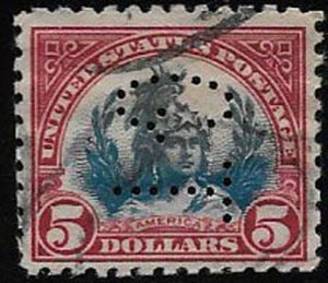 United States, SC 573, used, perfin, ng, well centerd