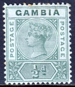 Gambia - Scott #20 - CA Wmk. - MH - Light toning at top - SCV $3.25