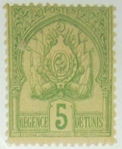1899 TUNISIA Scott #12 5c Mint yellow green