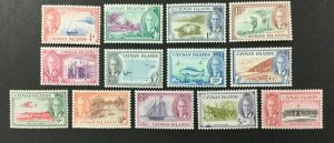 CAYMAN ISLANDS #122-134, 1950 KGVI set of 13. FVF, MNH. CV $81.20. (BJS).