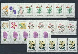 [I1635] Argentina 1985 flowers good set in strip of 5 stamps very fine MNH