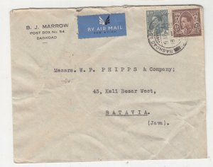 IRAQ, 1936 Airmail cover, Baghdad to Neth. East Indies, 5f., & 50f.