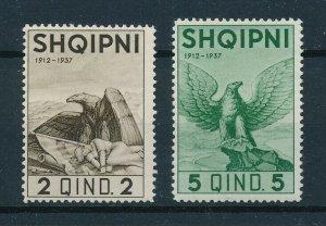 [102930] Albania 1937 Birds vögel oiseaux eagles From set MLH