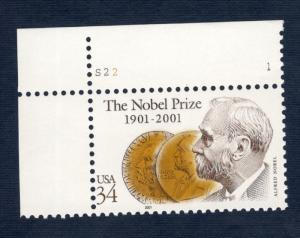 3504 Nobel Prize Centenary Single W/Plate Number Mint/nh FREE SHIPPING