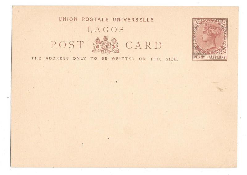 Lagos British Colony Postal Stationery Card Penny Halfpenny QV 1880s Unused