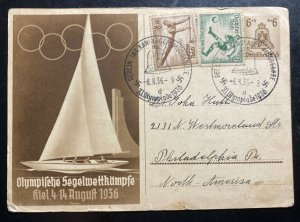 1936 Berlin Germany Postcard Cover to Philadelphia PA USA Olympics Stamps MXE