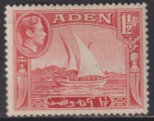 1939 - 1948 Aden 1½ Anna Adenese Dhow issue MMH Sc# 19 CV: $2.50 Stk #2