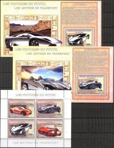 Congo 2006 Cars Mercedes Lamborghini Volkswagen Mitsubishi sh. + 4 S/S MNH 2 sc
