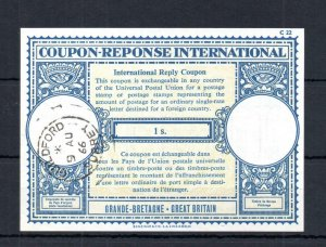 1/- INTERNATIONAL REPLY COUPON USED IN 1966