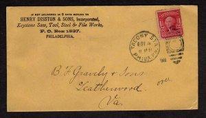 PA Henry Disston & Son Keystone Saws Tools PHILADELPHIA Pennsylvania Stamp Cover