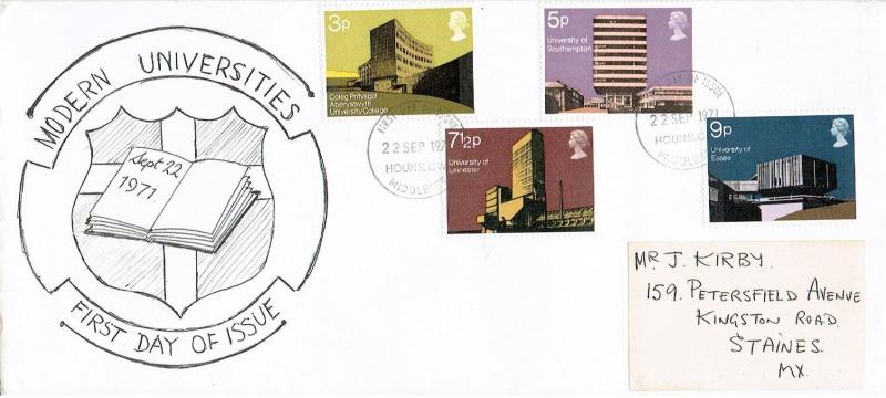 GREAT BRITAIN 1971 - FDC MODERN BRITISH UNIVERSITIES, HOUNSLOW MIDDX. CANCEL
