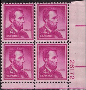 US #1036a ABRAHAM LINCOLN MNH LR PLATE BLOCK #26172 DURLAND .50¢