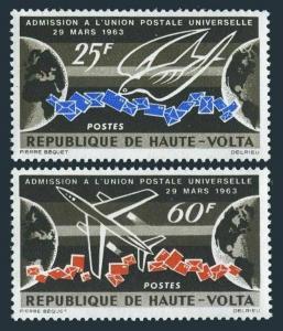 Burkina Faso 131-132,MNH.Michel 146-147. Admission to UPU,1964.Carrier Pigeon,