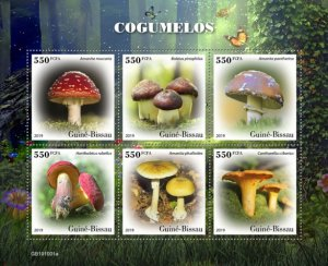 GUINEA BISSAU - 2019 - Mushrooms - Perf 6v Sheet - M N H