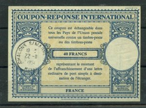 FRANCE 40 francs 1954 C22 used  - International Reply Coupon IRC