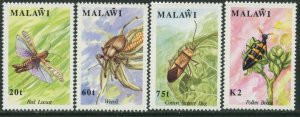 MALAWI Sc#590-593 1991 Insects Complete Set OG Mint Hinged