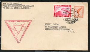 1933 German Graf Zeppelin Cover Scott #C31 & C43 South America Chicagofahrt
