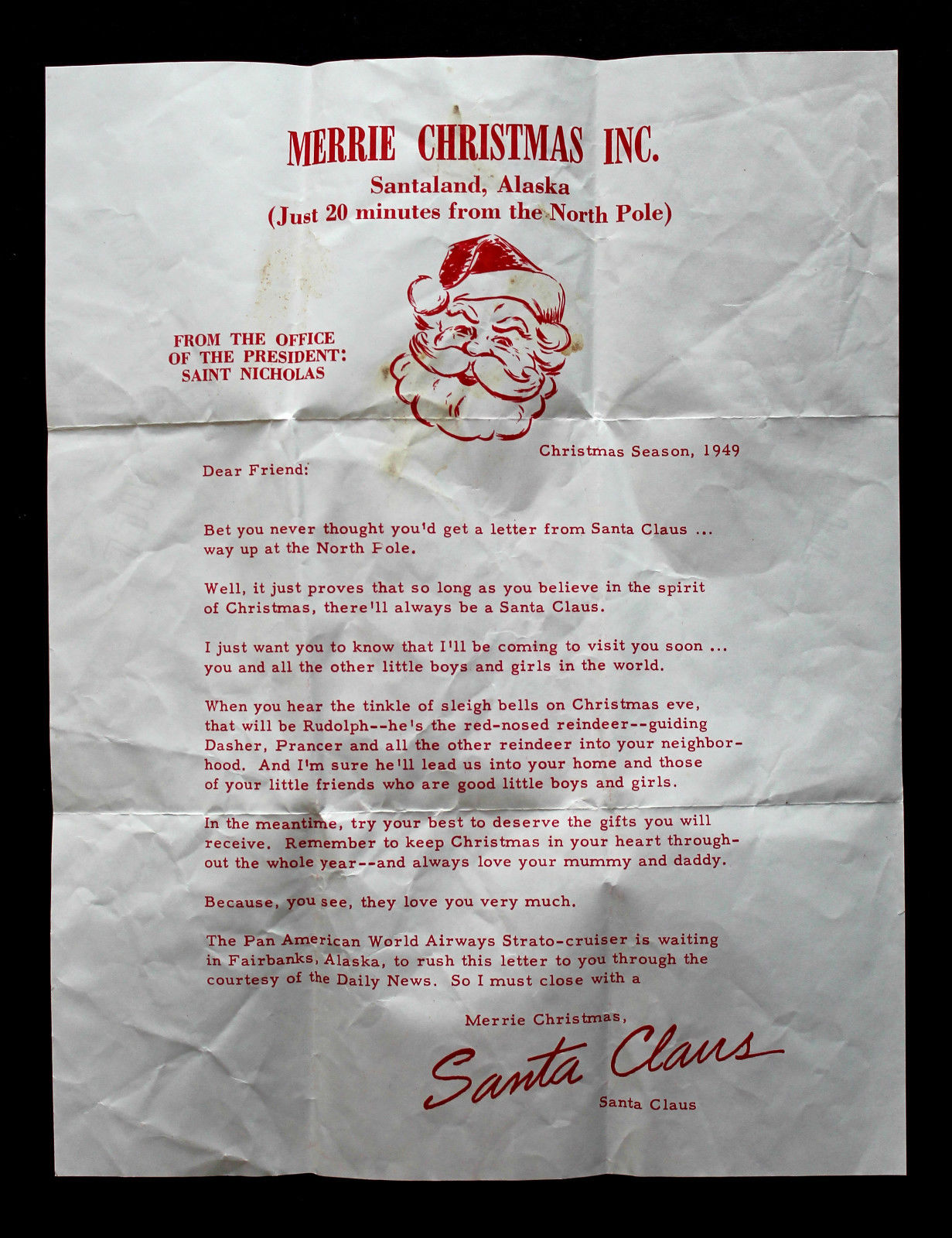 Us Stamp Sc Uc   On Cover From Santa ClausLetter From Santa