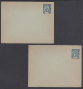 Indo-China H&G B2a, B2a var mint 1892 15c Navigation & Commerce Envelopes 2 diff