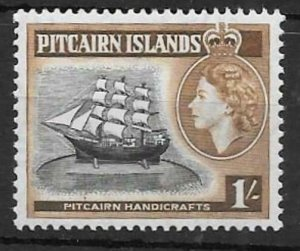 PITCAIRN ISLANDS SG26 1957 1/- BLACK & YELLOWISH BROWN  MNH