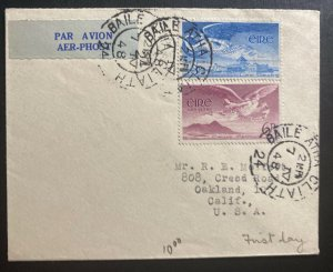 1948 Dublin Ireland Airmail First Day cover FDC To Oakland CA USA