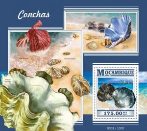 Mozambique MNH S/S Conchas Seashells Marine Life 2015
