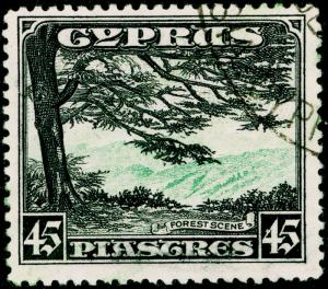 CYPRUS SG143, 45pi green & black, FINE USED. Cat £85.