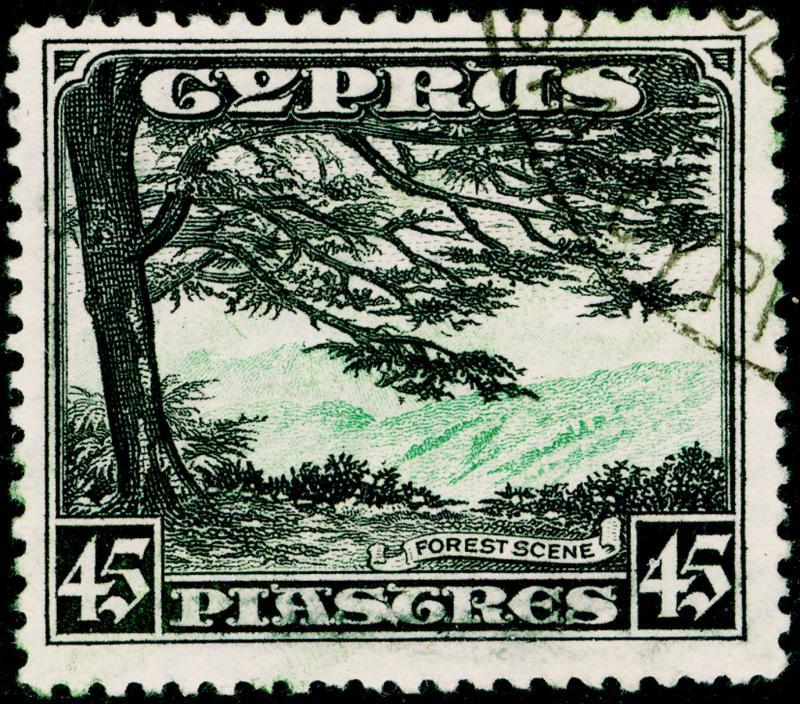 CYPRUS SG143, 45pi green & black, FINE USED. Cat £85.
