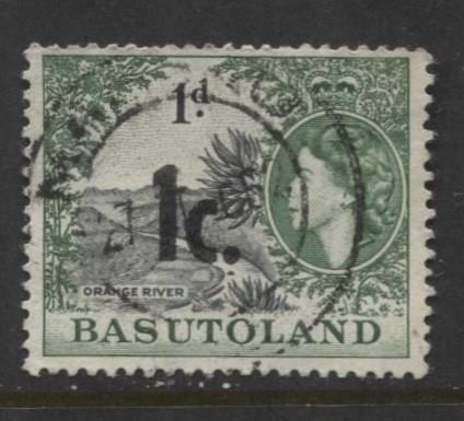 Basutoland -Scott 62-Surcharge New Value -1961-Used -Single 1c on a 1d Stamp